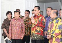 Jusuf Kalla bersmaa Bambang Soesatyo dan Pimpinan MPR Saat Jumpa Pers