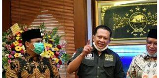 Bambang Soesatyo ditemani Ahmad Basarah dan KH Saiq Aqil Sirajd