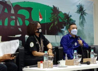 Willy Aditiya bersama N.S. Alam Prawiranegara dalam diskusi Forum Legislasi di Media Center, Senayan