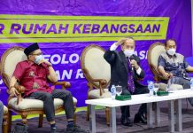 Syarief Hasan bersama Yanuar Prihatin dan Sunanto dalam diskusi Empat Pilar MPR di Kompleks Parlemen Senayan