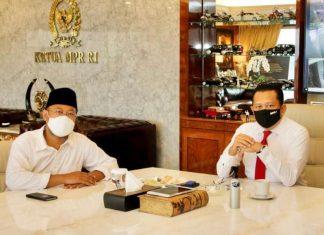 Bambang Soesatyo Menerima Rektor Universitas Terbuka, Ojat Darojat